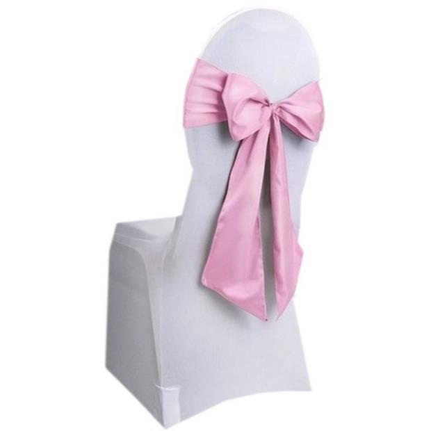 Bruiloft stoel decoratie lichtroze strik - Huwelijk stoel versiering - Bruiloft aankleding