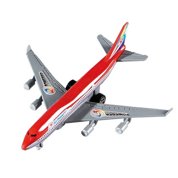 Happy People vliegtuig pullback 14 cm rood
