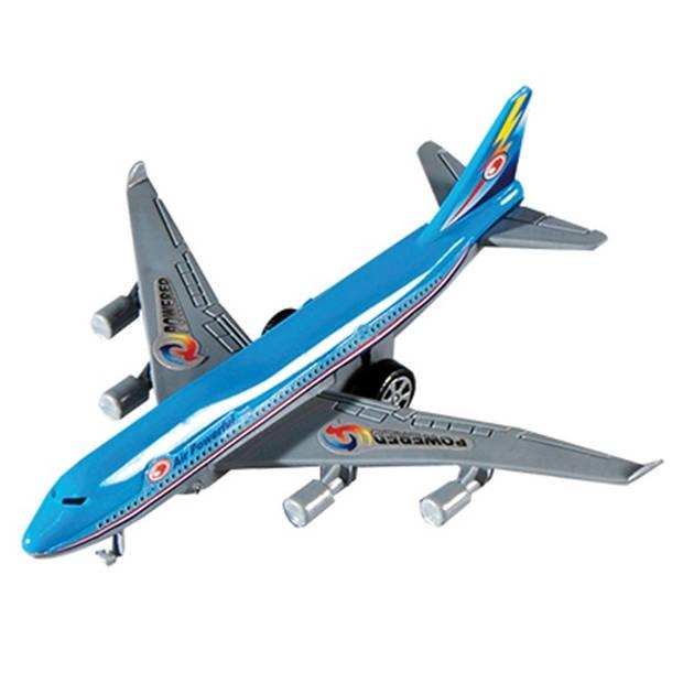 Happy People vliegtuig pullback 14 cm blauw