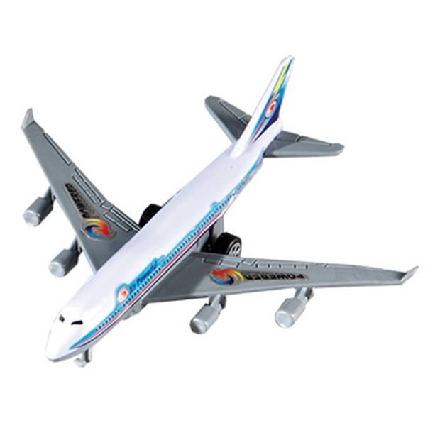 Happy People vliegtuig pullback 14 cm lichtblauw