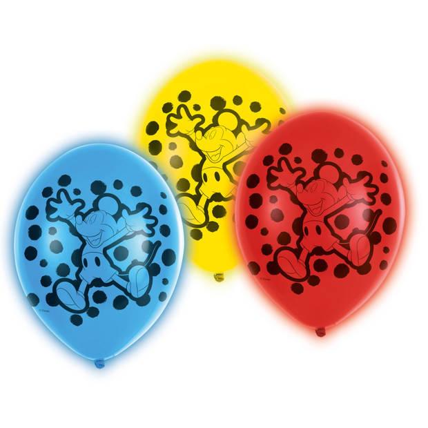 Amscan ballonnen met led-verlichting Mickey Mouse 28 cm 5 stuks