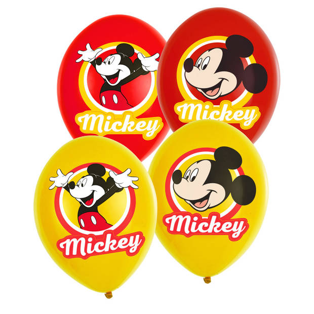 Amscan ballonnen Mickey Mouse 6 stuks geel/rood