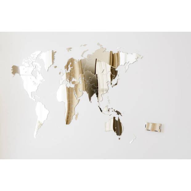 MiMi Innovations Luxe Spiegel Wereldkaart - Muurdecoratie - 130x78 cm/51.2x30.8 inch – Spiegel