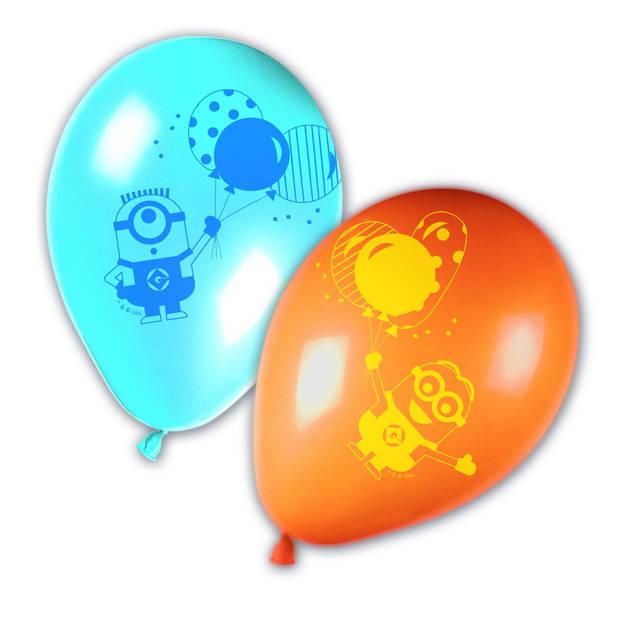 Universal ballonnen Minions blauw/oranje 8 stuks