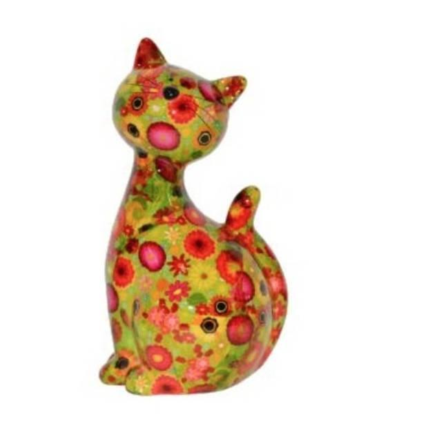 XL spaarpot kat/poes groen met bloemetjes 30 cm - Dieren spaarpotten