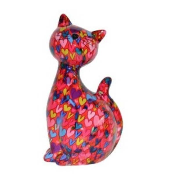 XL spaarpot kat/poes roze met hartjes 30 cm - Dieren spaarpotten