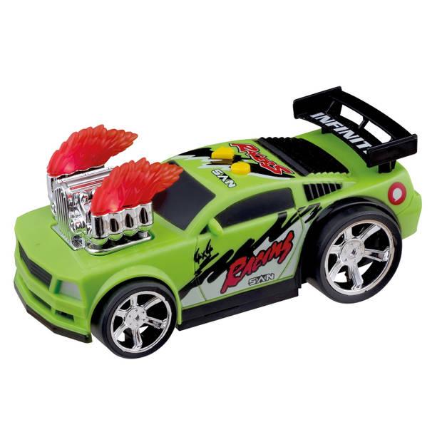 Happy People raceauto met licht en geluid Hot Flame 17 cm groen