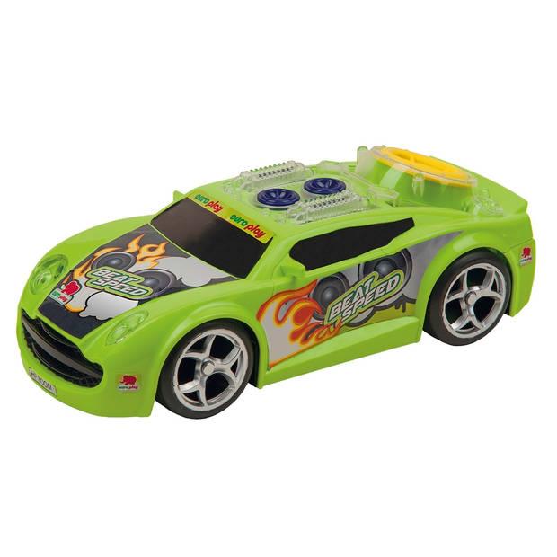 Happy People raceauto BeatSpeed licht en geluid 24 cm groen