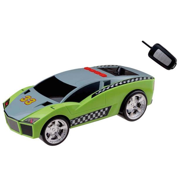 Happy People raceauto Key Racer licht en geluid 28 cm groen