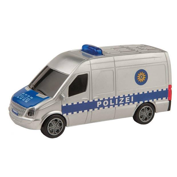 Happy People politiebus met licht en geluid 15 cm blauw