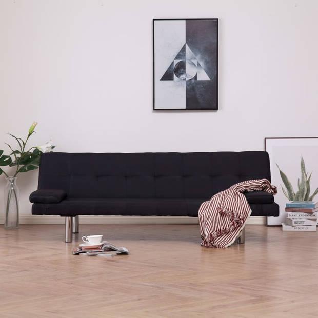 vidaXL Slaapbank met twee kussens polyester zwart