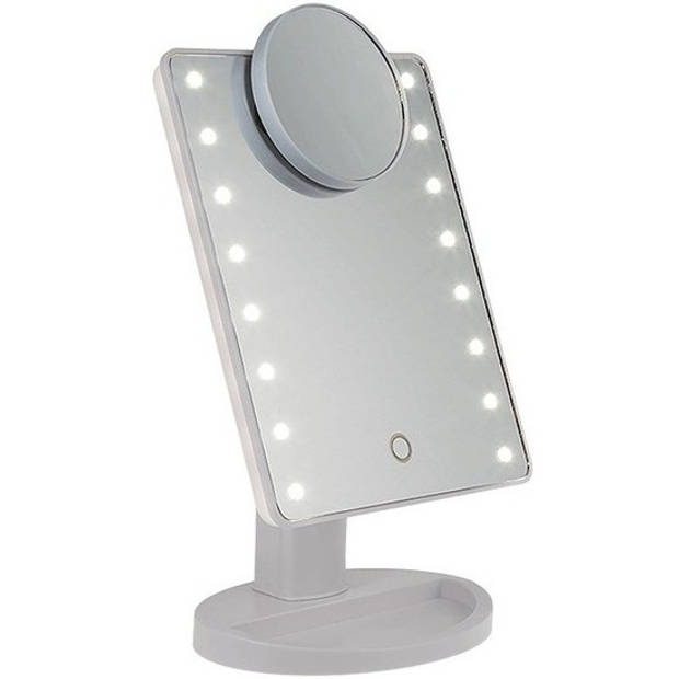 Spiegel op standaard met LED verlichting 28 x 20 cm