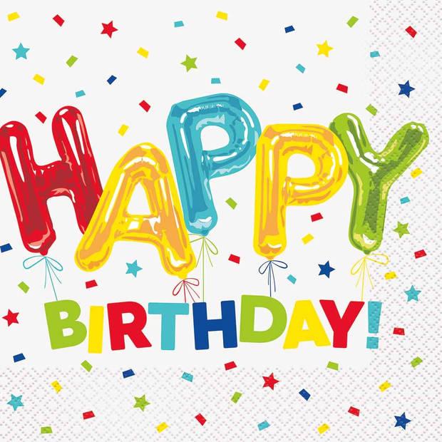 Haza Original servetten Happy Balloon Birthday wit 16 stuks