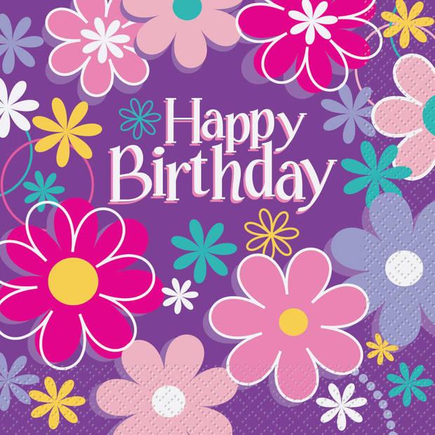 Haza Original servetten Birthday Blossom paars 16 stuks
