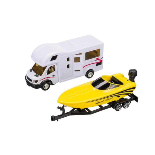 Happy People camper met speedboot op aanhanger 36 cm wit/geel