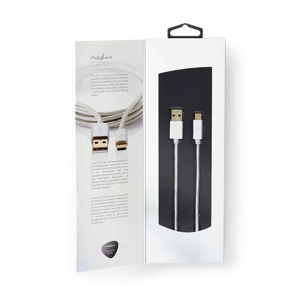 Nedis USB 2.0 kabel USB-C USB-A 1 mtr aluminium