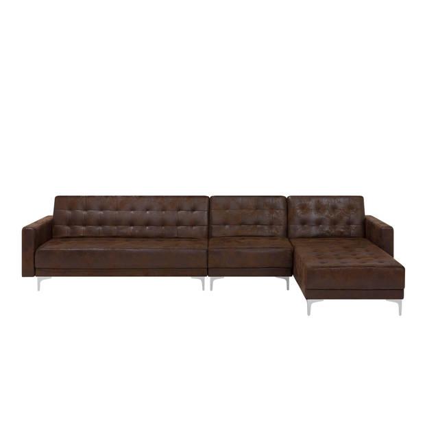 Beliani Aberdeen Slaapbank Bruin Polyester 347x168x83