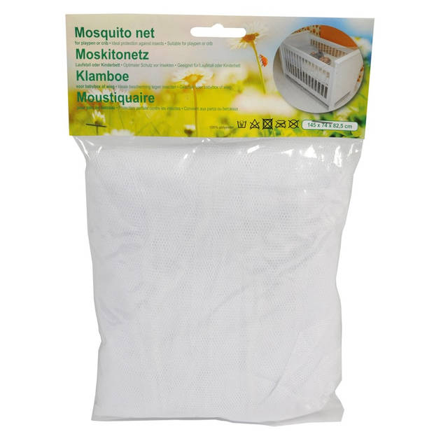 Muskietennet/klamboe voor baby ledikant/wieg wit 145 cm - Insectennetten voor baby/peuter kinderkamer