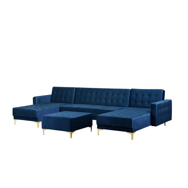 Beliani Aberdeen Slaapbank Blauw Fluweel 348x168x83