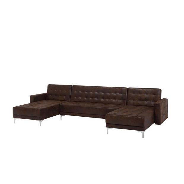 Beliani Aberdeen Slaapbank Bruin Polyester 348x168x83