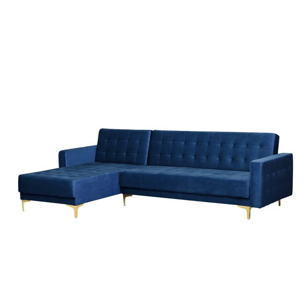 Beliani Aberdeen Slaapbank Blauw Fluweel 267x168x83