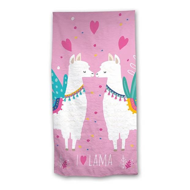Overige Llama strandlaken - 100% katoen - 70x140 cm - Roze
