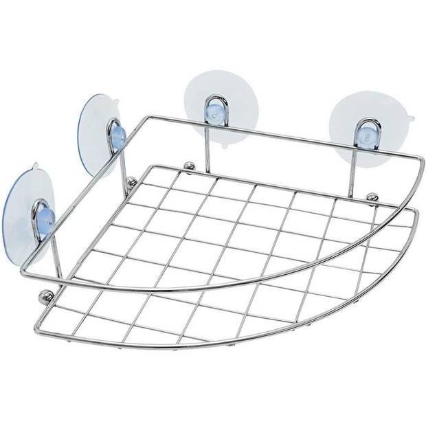 Chroom douche badkamer hoek mandje 20 x 27 cm - Doucherekje - Badkamerrek - Badkamer accessoires