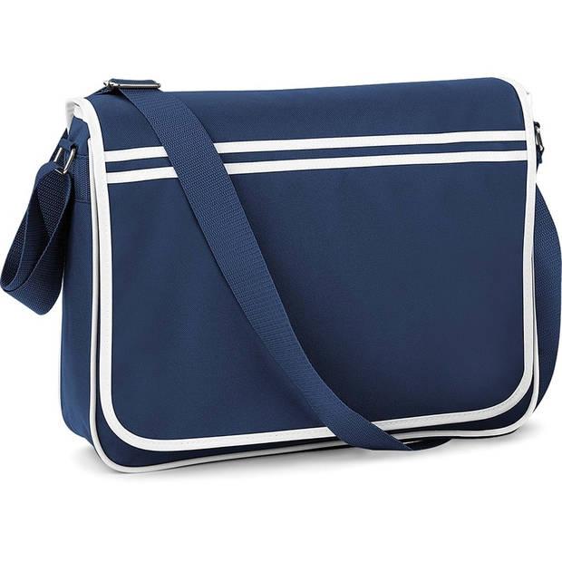 Retro schoudertas/aktetas navy/wit 40 cm voor dames/heren - Schooltassen/laptop tassen met schouderband