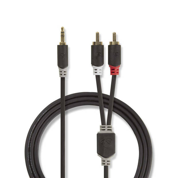 Nedis Stereo audiokabel 3,5 mm jack male - 2x RCA male 5 mtr Antraciet
