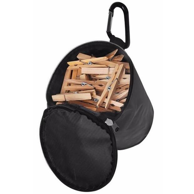 Wasknijperzak met karabijn - 72 houten knijpers - knijperzak