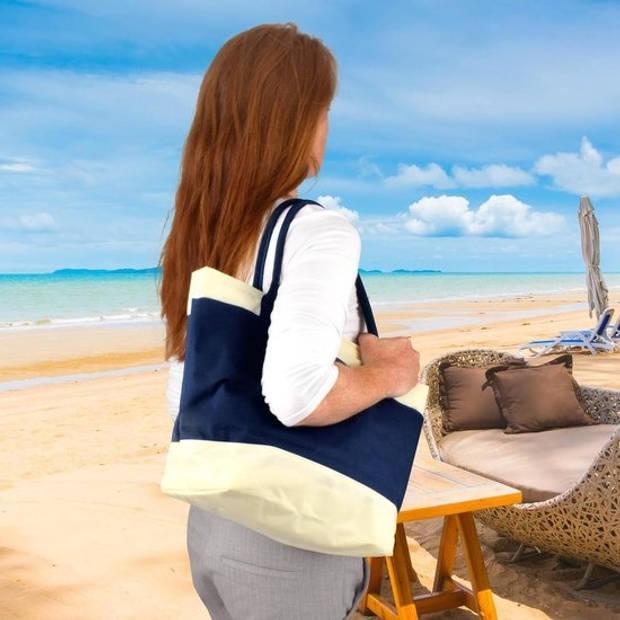 Koeltas / strandtas / picknicktas / lunch tas 2 vakken - 16L - navy - blauw