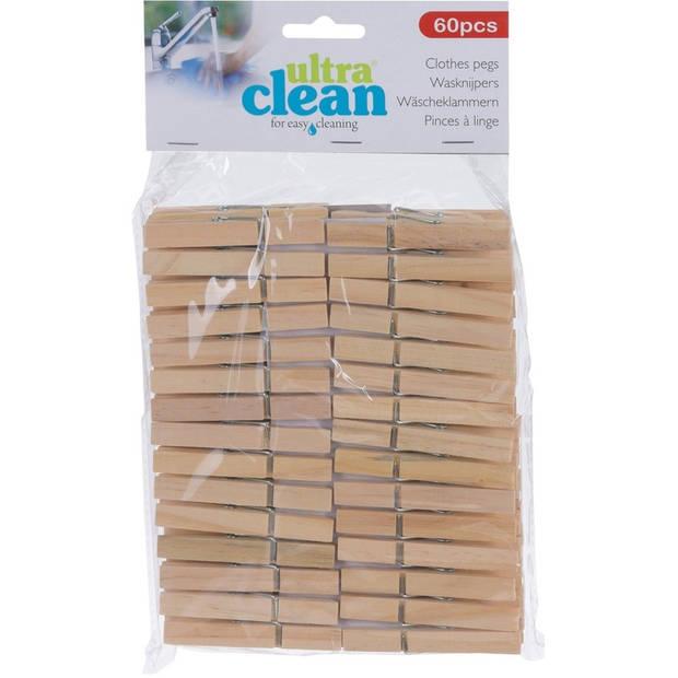60x Houten wasknijpers 7 cm - voordelige knijpers / wasspelden