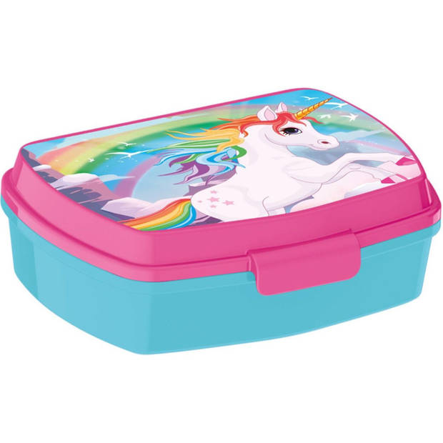 TOM lunchbox eenhoorn 15 x 10 x 6 cm blauw