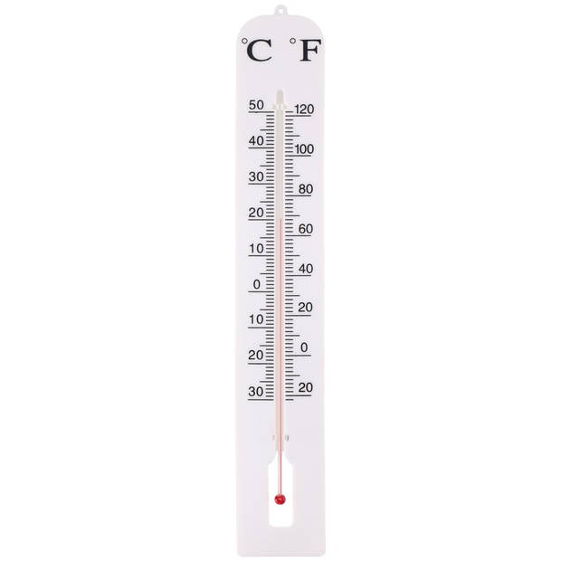 Buiten thermometer wit 39 cm - Kunststof tuinthermometers - Tuin artikelen