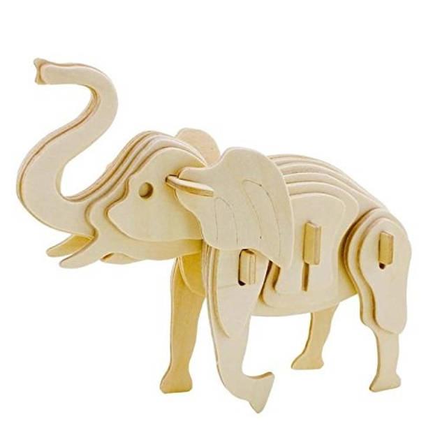 Gerardo's Toys 3D-puzzel olifant met verf 17 cm 27-delig