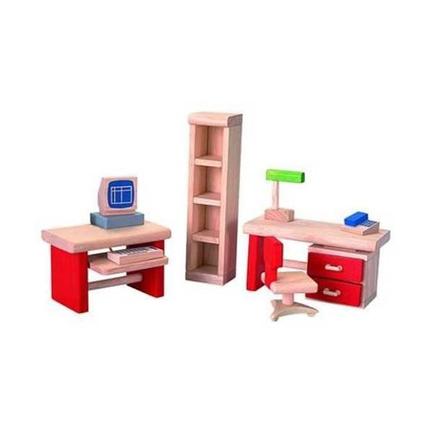 Plan Toys houten poppenhuismeubels Kantoor