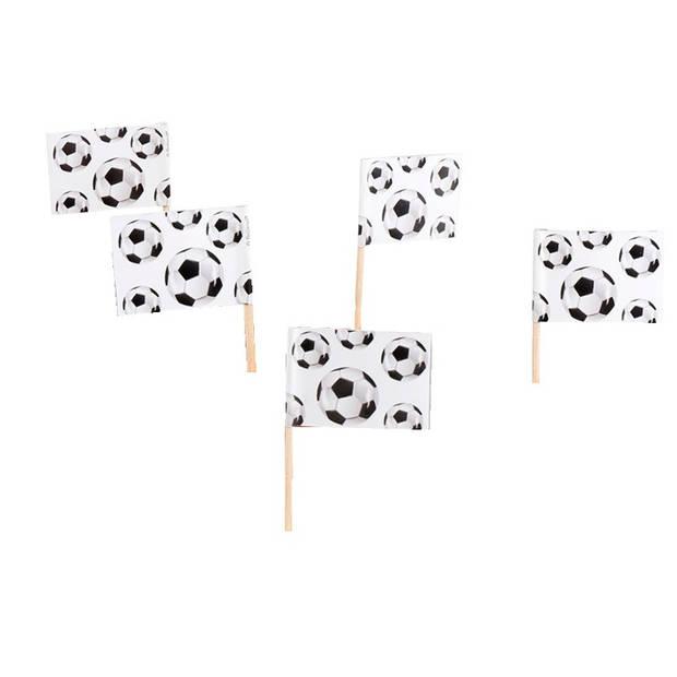 Boland cocktailprikkers voetbal 24 stuks zwart/wit