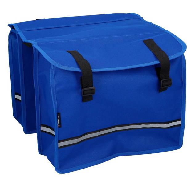 Dubbele fietstas blauw - 15 liter - 12 x 30 x 36 cm - fietstassen