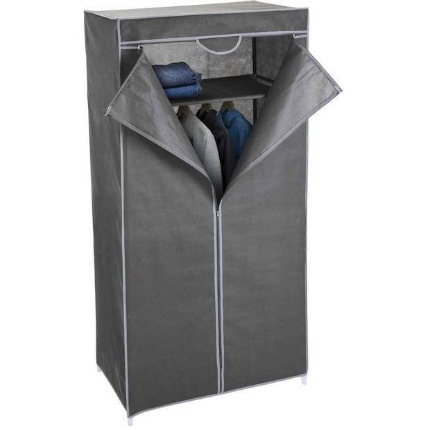 Mobiele opvouwbare kledingkast/garderobekast 160 cm grijs - Camping/zolder kast