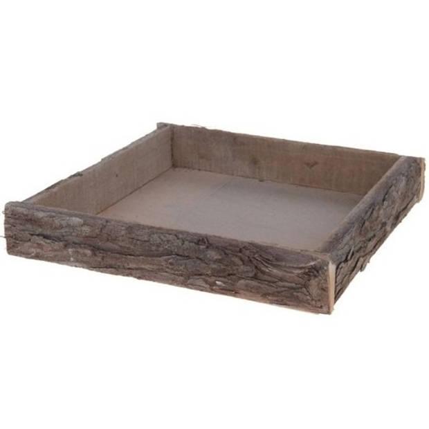 Vierkant boomstam Berkenhouten kaarsenplateau/kaarsenbord 30 cm - onderbord / kaarsenbord / onderzet bord voor kaarsen