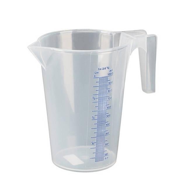 Maatbeker 1 liter transparant kunststof - Keuken accessoires en benodigdheden
