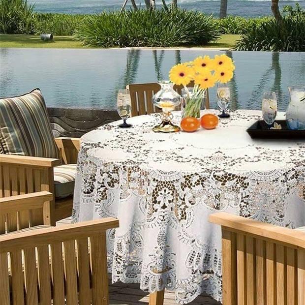 Binnen/buiten tafelkleed/tafellaken wit 180 cm rond - Ronde kanten tafelkleden Amira - Tuintafelkleed tafeldecoratie