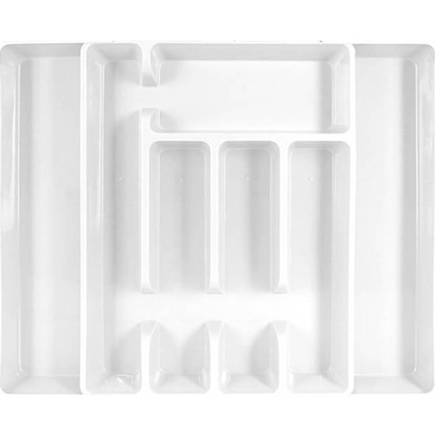Uitschuifbare bestekbak/bestekhouder wit 44 cm - 5 tot 7 vakken - Keuken opberg accessoires