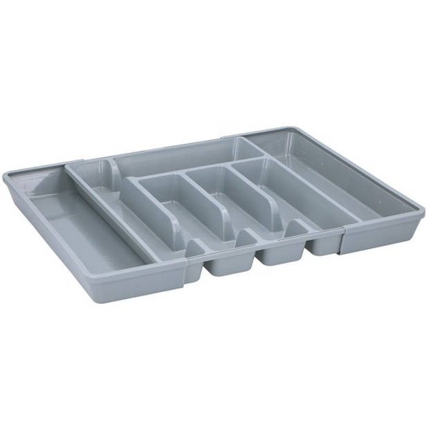 Uitschuifbare bestekbak/bestekhouder grijs 44 cm - 5 tot 7 vakken - Keuken opberg accessoires