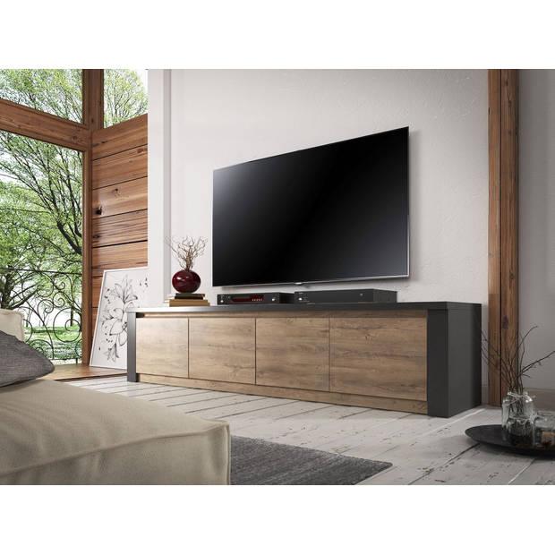 Meubella - TV-Meubel Monaco - Eiken - Grijs - 4 deuren - 170 cm