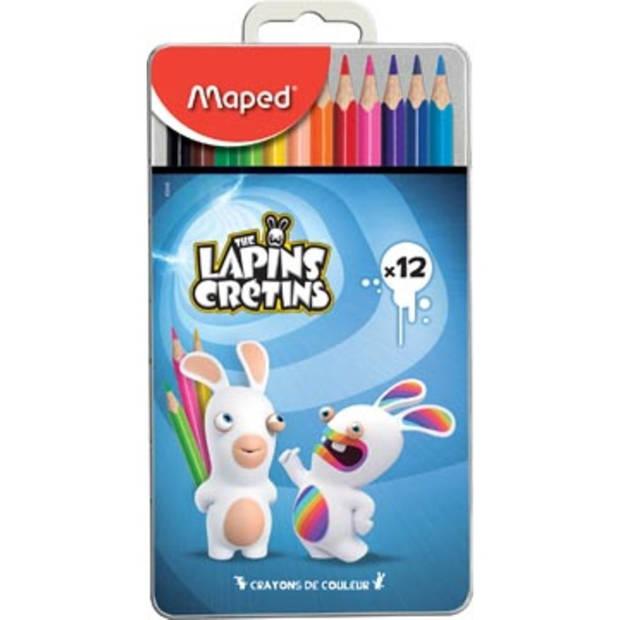 Maped kleurpotloden Lapins Cretins, metalen doos met 12 kleurpotloden in geassorteerde kleuren