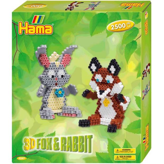 Hama strijkkralenset gift box 3D Vos & Konijn 2500 stuks