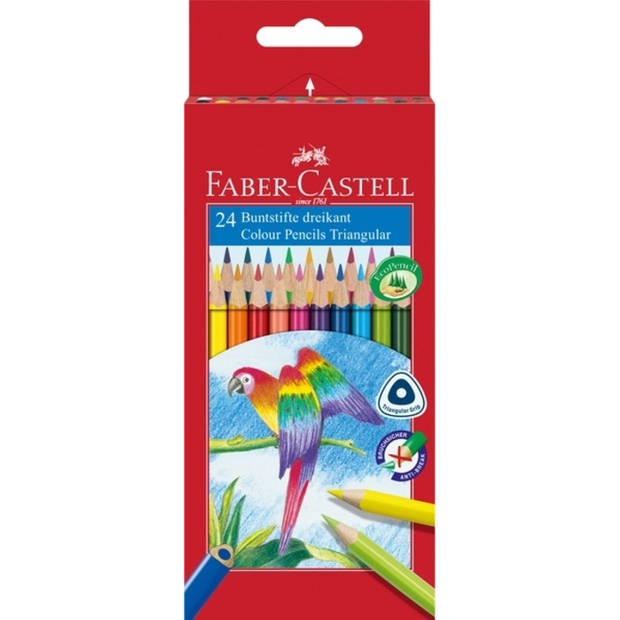 kleurpotlood Faber Castell driekant kartonnen etui à 24 stuks