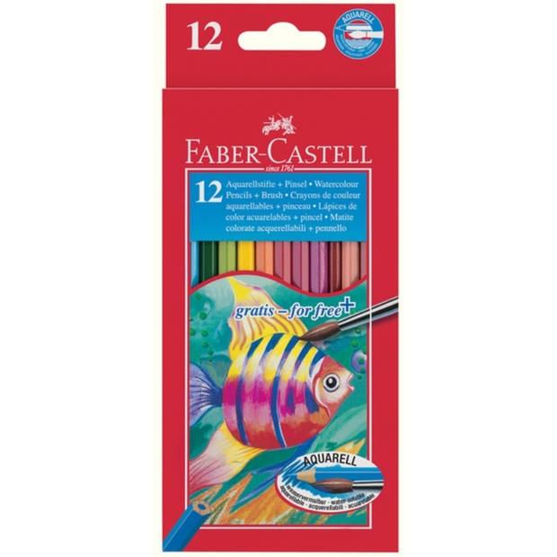 Aquarelpotlood Faber-Castell etui a 12 stuks + penseel