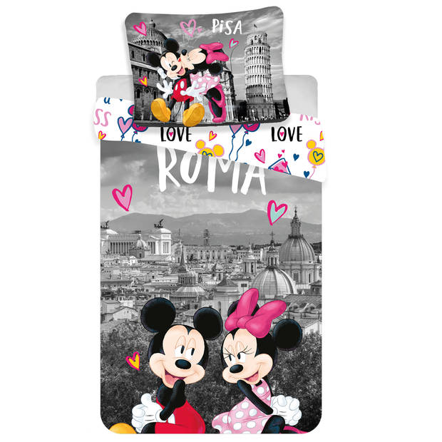 Disney Minnie Mouse Roma Love Dekbedovertrek - Eenpersoons - 140x200 cm - Multi
